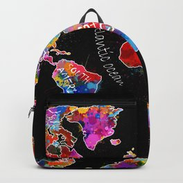 world map color splatter black Backpack