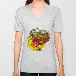 Girl with a bird's nest Unisex V-Neck
