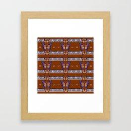 COFFEE BROWN BLUE MONARCHS BUTTERFLY BANDS ART Framed Art Print