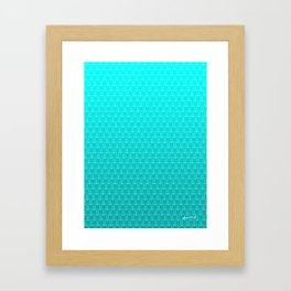 Micro Cats Pattern - Teal Turquoise Ombre Framed Art Print