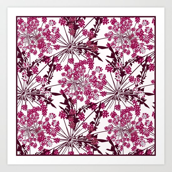 Laced crimson flowers on a white background. Art Print