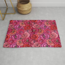 red and pink floral Ranunculous flowers Rug