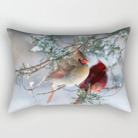 Shining on Her Own (Cardinal) Rectangular Pillow
