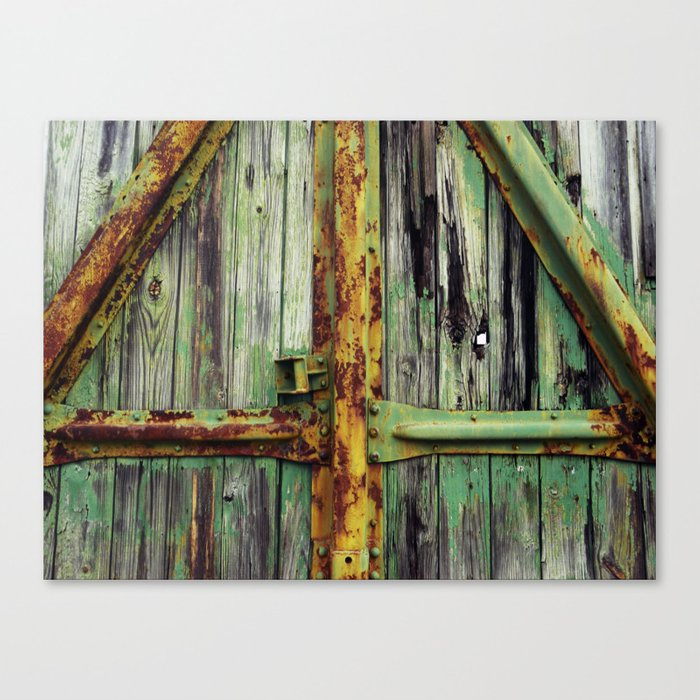 Yellow and Green Train Canvas Print