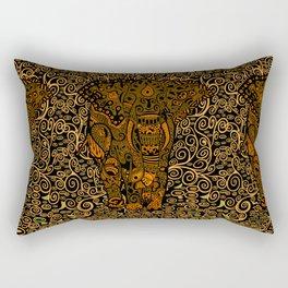 Aztec Elephant With Floral Pattern Rectangular Pillow