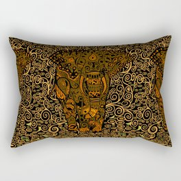 Aztec Elephant With Floral Pattern Rectangular Pillow