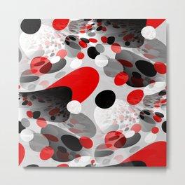 Stir Crazy - Abstract - Red, Black, Gray, White Metal Print