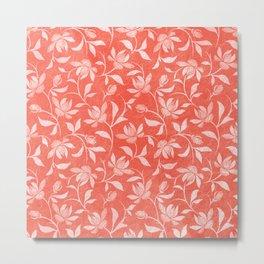 Living Coral Floral Pattern 3 Metal Print