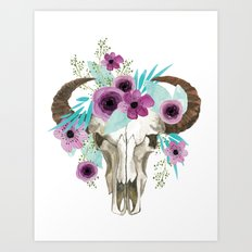 This boho bull skull, features a crown of bright flowers! Art Print