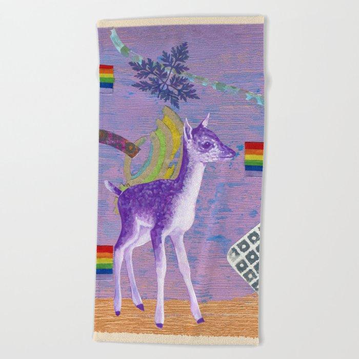 rainbow deer 1 Beach Towel