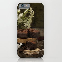 White roses and chocolade cake  iPhone Case