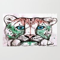 snow leopard Area & Throw Rugs featuring Snow leopard by Caballos of Colour