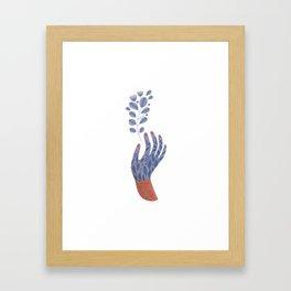 Hand painted Purple Flower Hand holding a fantasy flower Framed Art Print