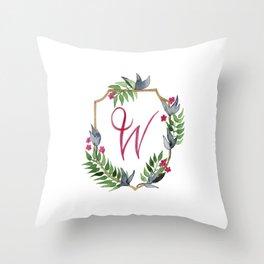 Jungle Gold Monogram Crest W Throw Pillow