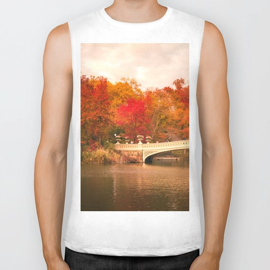New York City Autumn Magic in Central Park Biker Tank