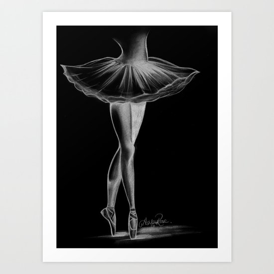 Ballerina - Black and White - Ashley Rose Art Print