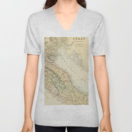 Retro & Vintage Map of Northern Italy Unisex V-Neck