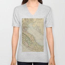 Retro & Vintage Map of Northern Italy Unisex V-Neck