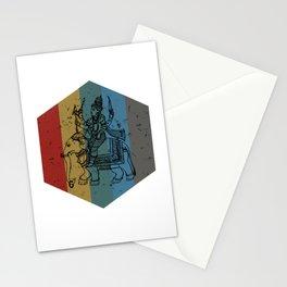 Lord Ganesh Retro Hexagon Art Stationery Cards
