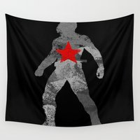 winter soldier Wall Tapestries featuring Winter Soldier (Bucky Barnes) by MajesticSeahawk Designs