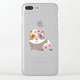 Guinea pig and flowers Clear iPhone Case