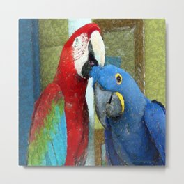 Red and Blue Macaws Crackle Print Metal Print