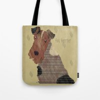 terrier Tote Bags featuring fox terrier by bri.buckley