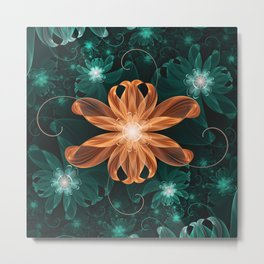 Alluring Turquoise and Orange Tiger Lily Flower Metal Print