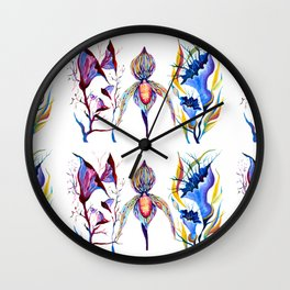 Exotic Tropical Orchids in Watercolor  Wall Clock