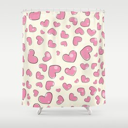 Little hearts in a yellow background Shower Curtain