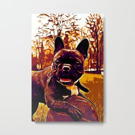 french bulldog basketball vector art late sunset Metal Print