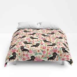Doxie Florals - vintage doxie and florals gifts for dog lovers, dachshund decor, black and tan doxie Comforters