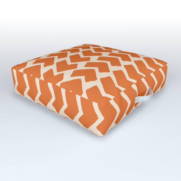 Orange Geometric Pattern Retro Print Outdoor Floor Cushion By