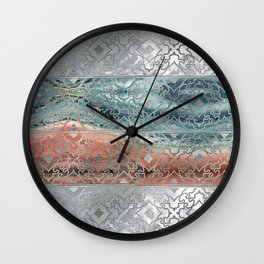 Silver glitter pattern on mother of pearl and jasper Wall Clock