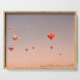 vintage hot air balloons in rio Serving Tray