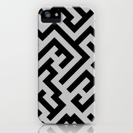 Black and Gray Diagonal Labyrinth iPhone Case
