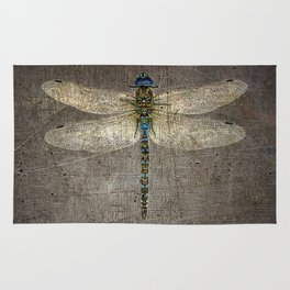 Dragonfly On Distressed Metallic Grey Background Rug