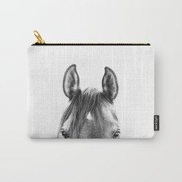peekaboo horse, bw horse print, horse photo, equestrian print, equestrian photo, equestrian decor Carry-All Pouch