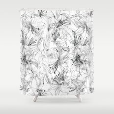 lily sketch black and white pattern Shower Curtain