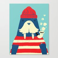 cartoon Canvas Prints featuring The Walrus by Monster Riot