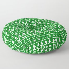 Green & White Nordic Ugly Sweater Christmas Pattern Floor Pillow