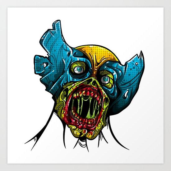 Zombie Wolverine Art Print