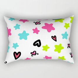 Valentine's Day Sketchy Doodles with cat, hearts and stars Rectangular Pillow