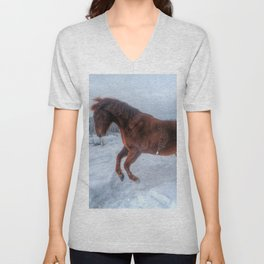 Fire and Ice - Equine Photography Unisex V-Neck