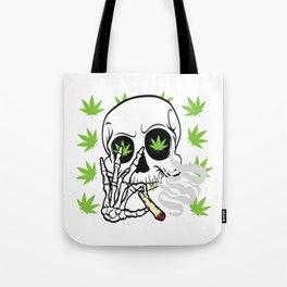 Skull Cannabis Tee For High People Pot Medical Weed T-shirt Design Marijuana Medication Legalized Tote Bag