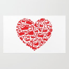 Cute red heart made from cats Rug