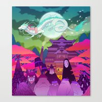 spirited away Canvas Prints featuring Spirited Away by Jen Bartel