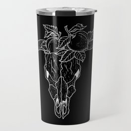 Bull Skull with Floral Peach Wreath Inverted Design Travel Mug