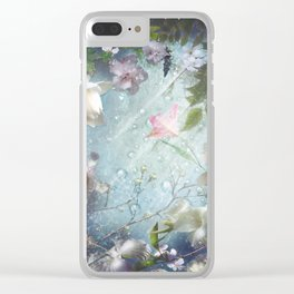 Flowers and Waters in Pale Pink and White Clear iPhone Case
