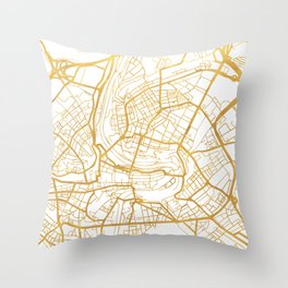 BERN SWITZERLAND CITY STREET MAP ART Throw Pillow